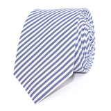 Blue and White Chalk Stripes Cotton Skinny Tie Front