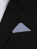 Blue and White Chalk Stripes Cotton Winged Puff Pocket Square Fold