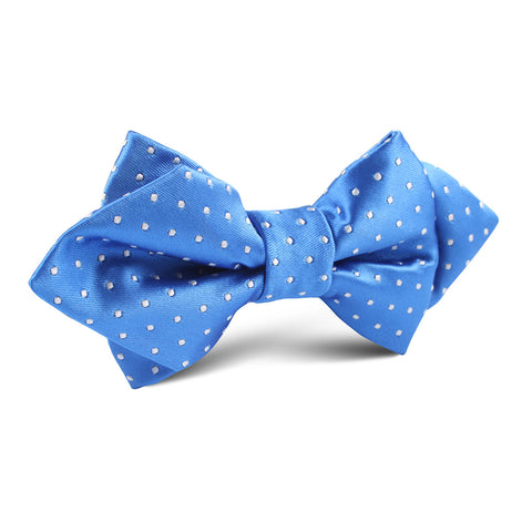 Blue with White Polka Dot Diamond Bow Tie