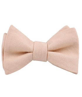 Blush Beige Linen Self Bow Tie