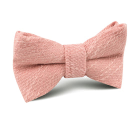 Blush Flamingo Pink Linen Kids Bow Tie