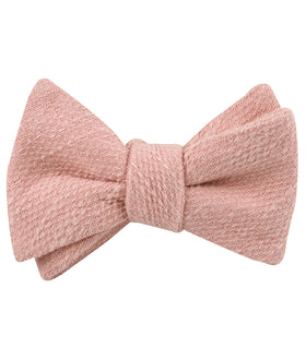 Blush Flamingo Pink Linen Self Bow Tie