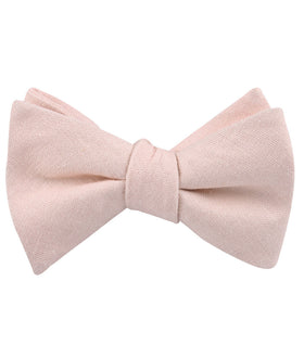 Blush Petal Pink Linen Self Bow Tie