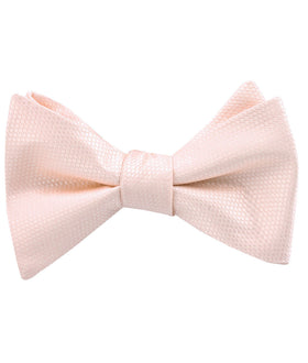 Blush Pink Basket Weave Self Bow Tie