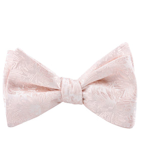 Blush Pink Daisy Flowers Floral Self Bow Tie