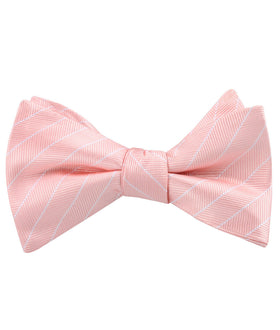 Blush Pink Herringbone Pinstripe Self Bow Tie