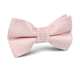 Blush Pink Houndstooth Kids Bow Tie