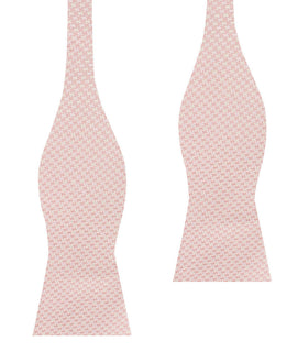 Blush Pink Houndstooth Self Bow Tie