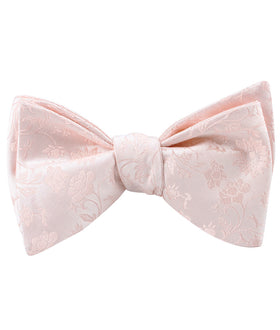 Blush Pink Rose Floral Self Bow Tie