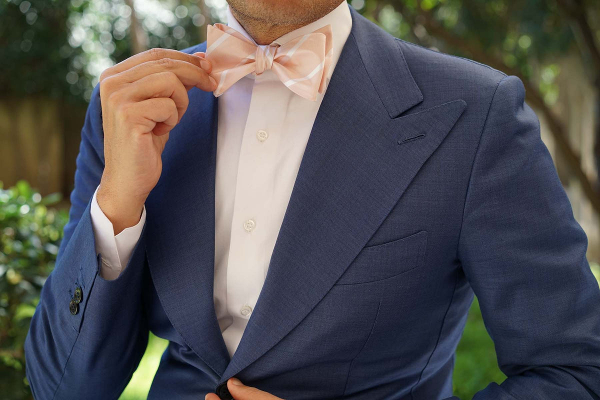 Blush Pink Striped Self Bow Tie