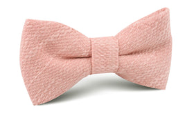 Blush Flamingo Pink Linen Bow Tie