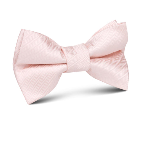 Blush Pink Herringbone Kids Bow Tie