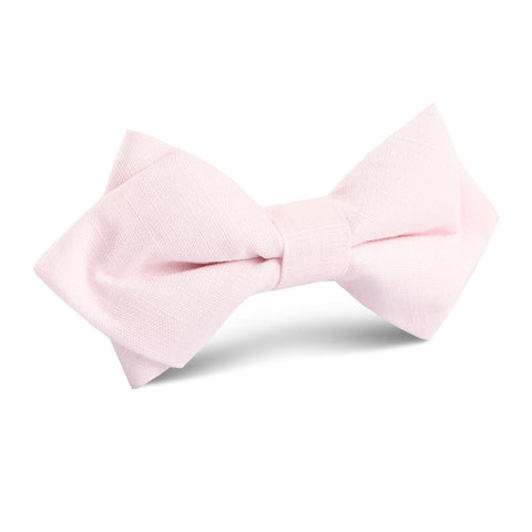 Blush Pink Linen Diamond Bow Tie