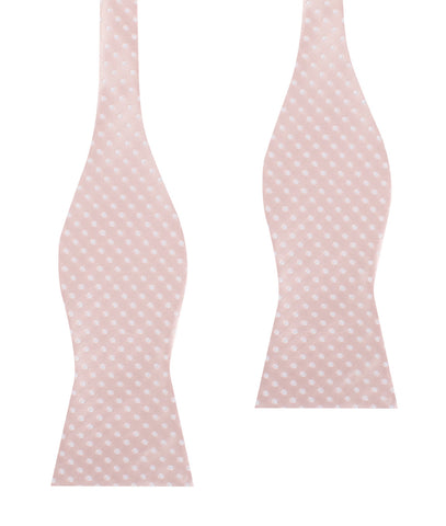 Blush Pink Mini Polka Dots Self Bow Tie