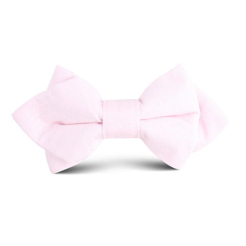 Blush Pink Slub Linen Kids Diamond Bow Tie