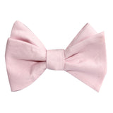 Blush Pink Slub Linen Self Tie Bow Tie 1