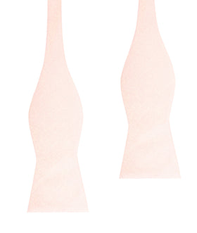 Blush Pink Slub Linen Self Tie Bow Tie