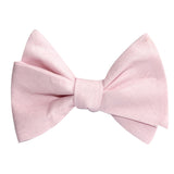 Blush Pink Slub Linen Self Tie Bow Tie 2