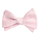 Blush Pink Slub Linen Self Tie Bow Tie 3
