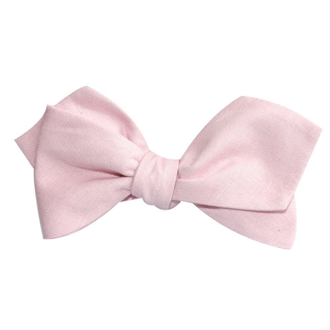 Blush Pink Slub Linen Self Tie Diamond Tip Bow Tie