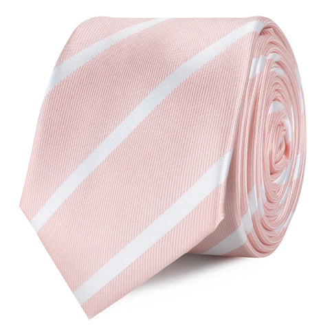 Blush Pink Striped Skinny Tie