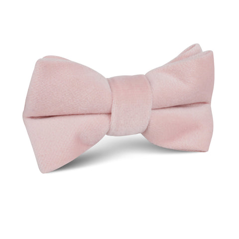 Blush Pink Velvet Kids Bow Tie
