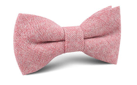 Blush Red Slub Linen Bow Tie