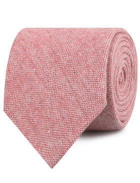 Blush Red Slub Linen Necktie