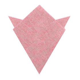 Blush Red Slub Linen Pocket Square