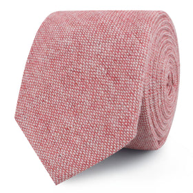 Blush Red Slub Linen Skinny Tie