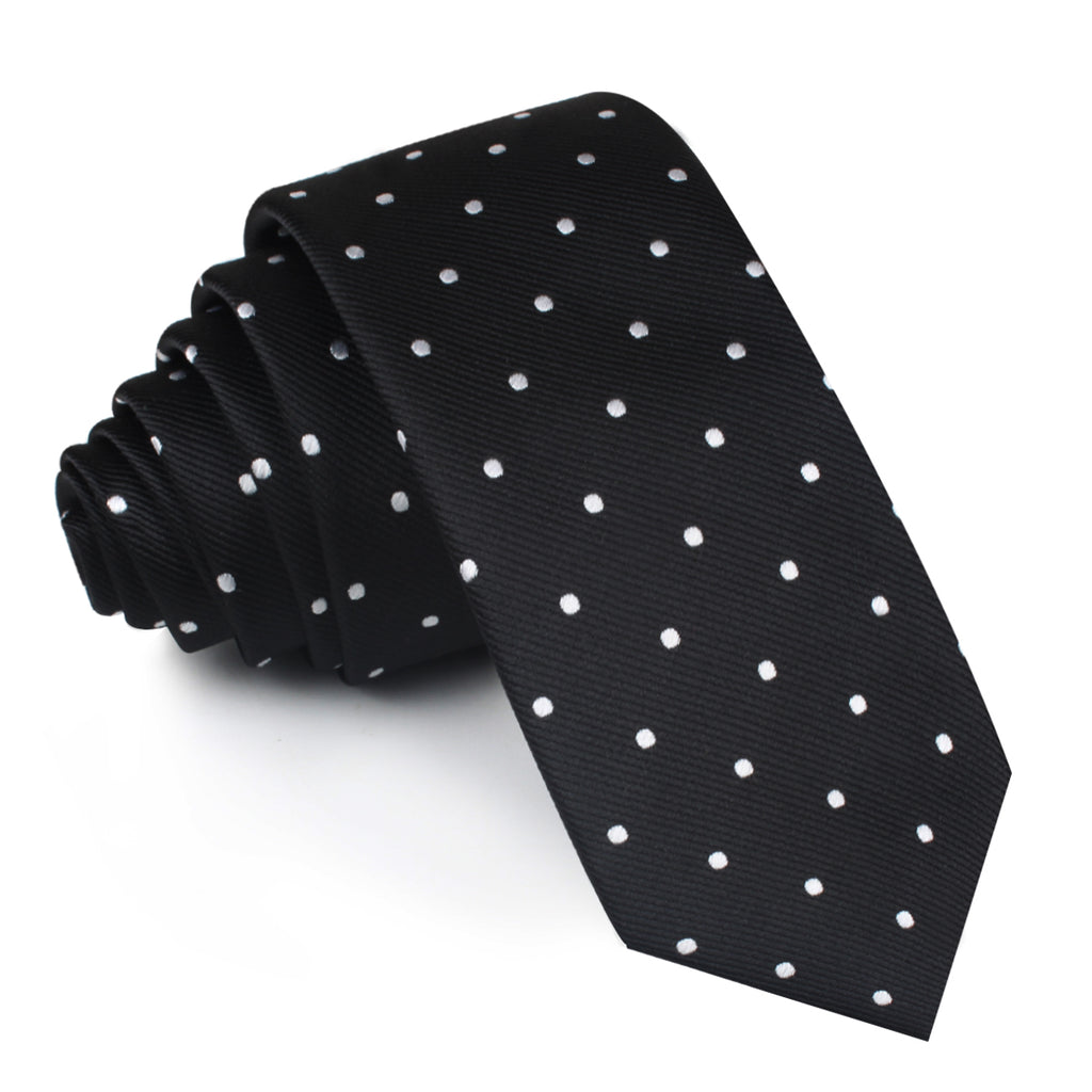 Bond Black Polka Dots Skinny Tie