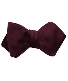 Bond Burgundy Diamond Velvet Self Bow Tie