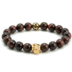 Boston Red Tiger Eye Gold Skull Bracelet