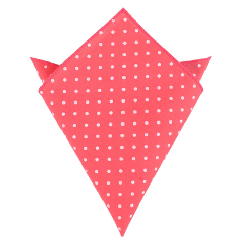 Bright Pink with White Polka Dots Cotton Pocket Square