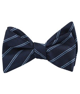Brooklyn Navy Blue Striped Self Bow Tie