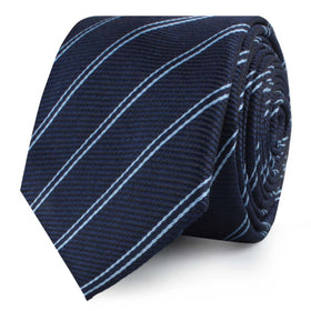 Brooklyn Navy Blue Striped Skinny Tie