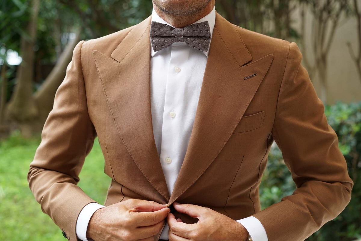 Brown Totem Inception Linen Bow Tie