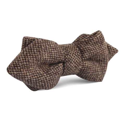 Brown Caramel English Wool Diamond Bow Tie