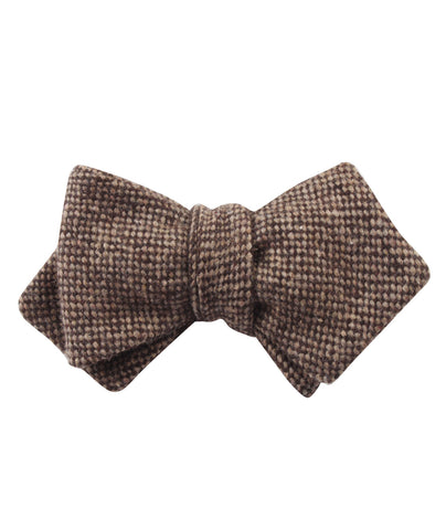 Brown Caramel English Wool Diamond Self Bow Tie