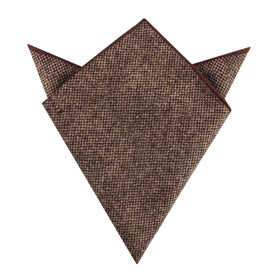 Brown Caramel English Wool Pocket Square