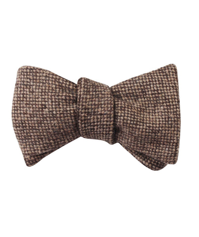 Brown Caramel English Wool Self Bow Tie