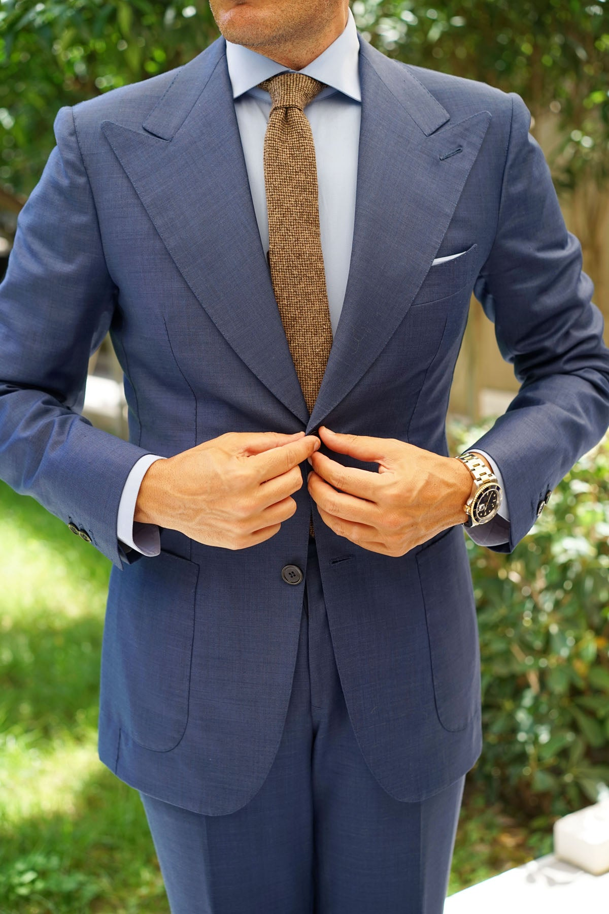 Brown Caramel English Wool Skinny Tie