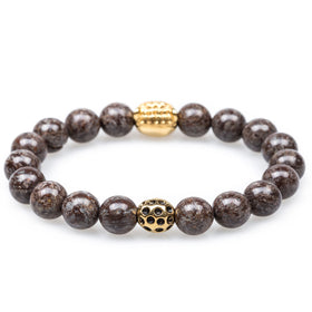 Brown Charcoal Rutile Gold Panther Bracelet