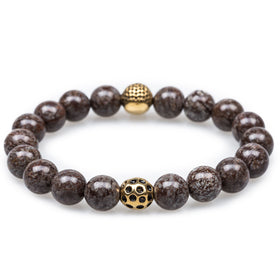 Brown Charcoal Rutile Golden Age Skull Bracelet