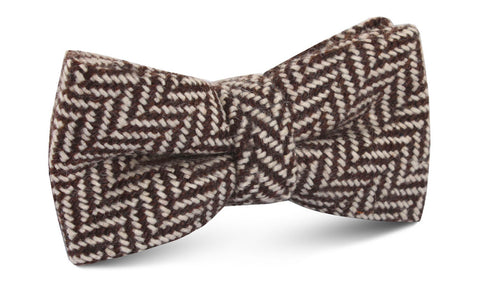 Brown Chevron Wool Bow Tie