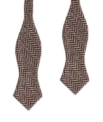 Brown Chevron Wool Diamond Self Bow Tie