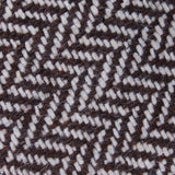Brown Chevron Wool Fabric Self Bowtie