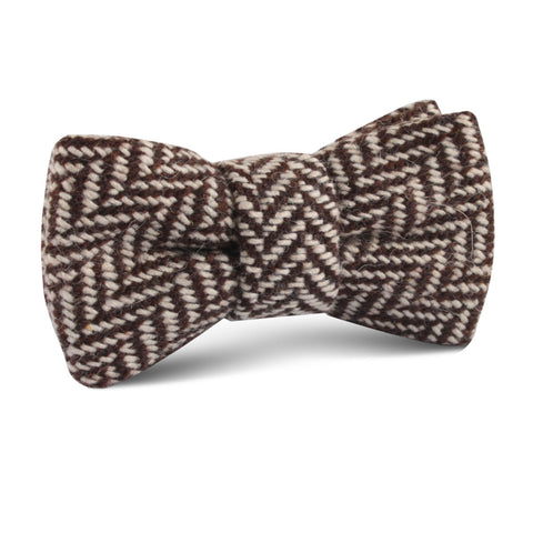 Brown Chevron Wool Kids Bow Tie