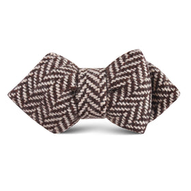 Brown Chevron Wool Kids Diamond Bow Tie