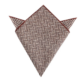 Brown Chevron Wool Pocket Square